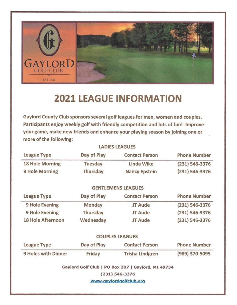 2021 League Info